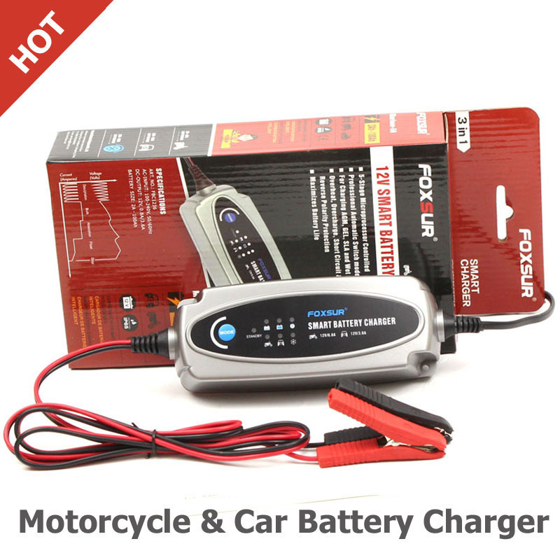 FOXSUR 12V 3.6A or 12V/0.8A Car & Motorcycle Battery Charger, Lead Acid Battery Charger AC input 100-240V EU US UK AU plug
