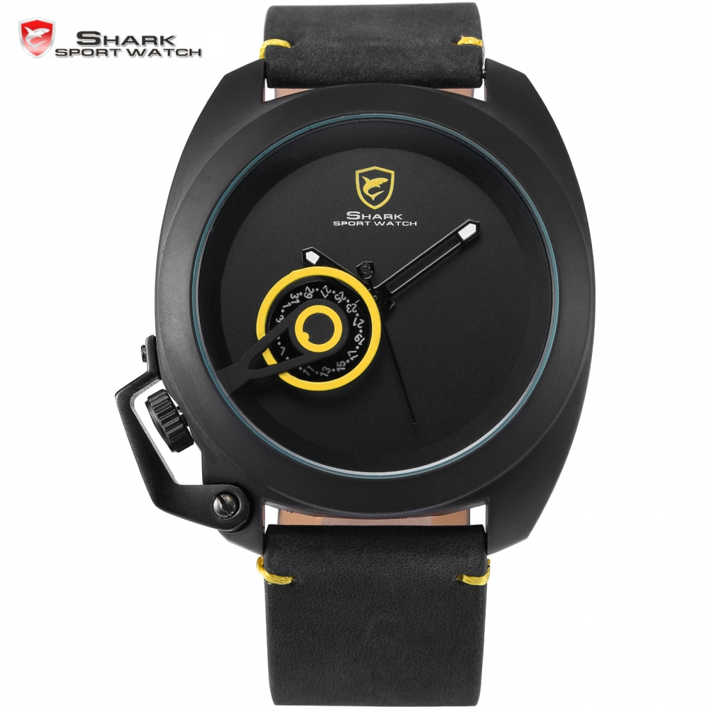 Tawny Shark Sport Watch Luxury Yellow Unique Date Display Simple Left Crown-guard Leather Strap Men Fashion Wristwatch / SH449 все цены