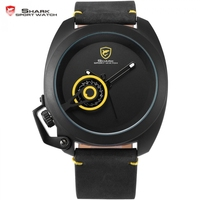 Tawny Shark Luxury Yellow Unique Date Display Simple Dial Left Crown Guard Leather Strap Men Fashion