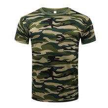 2018 Camouflage Quick Dry Breathable T-Shirt Tights Army Tactical T-shirt Mens Compression Shirt Fitness Summer Body bulding(China)