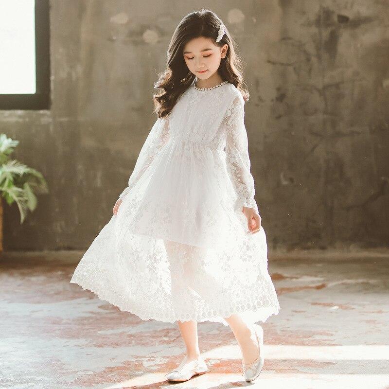 Image 3 - 2019 New Children White Lace Dress Baby Princess Dress Summer Girls Dress Kids Maxi Dress Toddler Floral Clothes Beautiful,#5132Dresses   -
