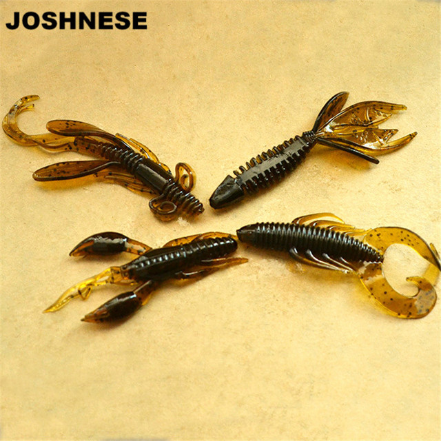 JOSHNESE 4 יחידות תולעת דיג פיתוי דגי אטרקטיבי רך פיתיון סיליקון שרימפס פתיונות Wobbler לנענע מסתובב בס קרס דיג