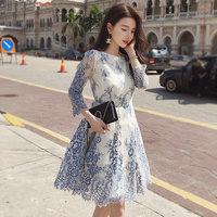 2018 New Summer Women Lace Hollow Loose Dress Casual Sweet O Neck Dresses Ladies White Fairy