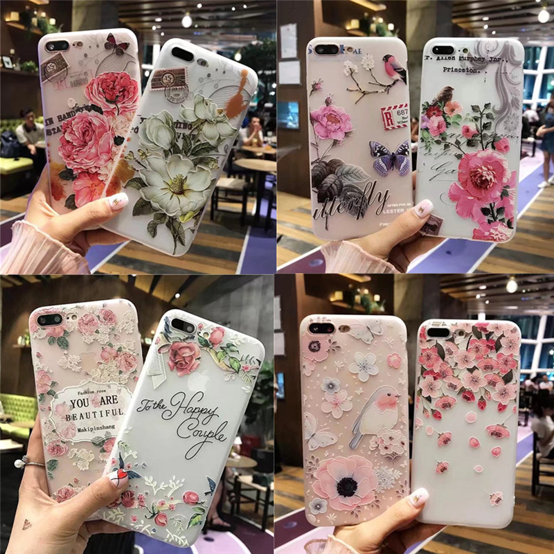 Fashion 3D White Flower Paint Phone Case For IPhone 8 7 Plus Soft TPU Back Cover Cases