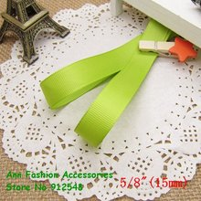 Free shipping/Wholesale 5/8″ (15mm) green Solid Grosgrain Ribbon,lwd1506