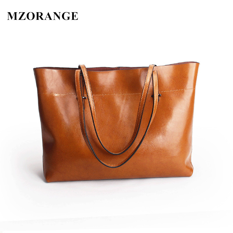 2018 New Simple Design Luxury Oil Waxing Cow Leather Women One Shoulder Bags Fashion Bag Big Bag Women Horizontal Handbags burgundy one shoulder frill layered design jumpsuit