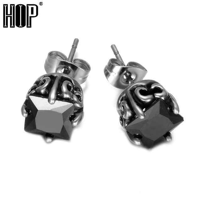 Hip Punk 1 Pair Mens Stud Earrings Cool 316l Stainless Steel Square Black Crystal Earring For