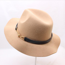 BING YUAN HAO XUAN High Quality Unisex Sun Hat Solid Color Belt Gold Hoop Wool Felt Hats for Women Men