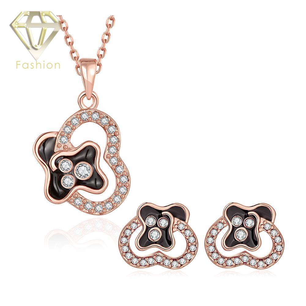 Bridal classics necklace sets mj 259 - Wedding Jewellery Sets Trendy Rose White Gold Color Plant Shaped Inlaid Cubic Zircon Pendant