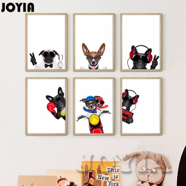 Gentil Funny Dog Wall Art Prints Pet Puppy Hipster Animals Canvas Wall Paintings  Nursery Decor Home Decoration