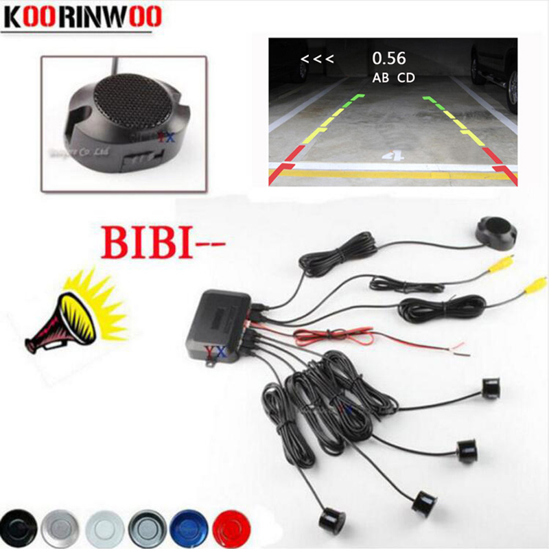 Koorinwoo 2019 Dual Core CPU Car Video Parkeringssensor Reverse Backup Radar Assistance och Step-Up Alarm Show Distance