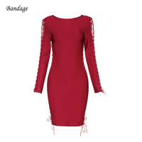 Wholesale 2018 Autumn Winter Dress Elegant Long Sleeve O Neck Chic Lace Up Hollow Out Bandage Party Red Carpet Women Short Dress
