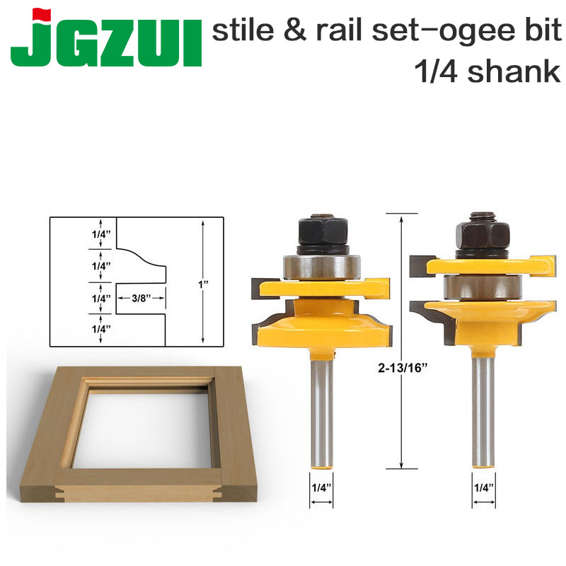 2 Bit Rail and Stile Router Bit Set - 1/4 Shank door knife Woodworking cutter Tenon Cutter for Woodworking Tools RCT 2 bit jewelry box side and foot mold router bit set 1 2 shank woodworking cutter tenon cutter for woodworking tools