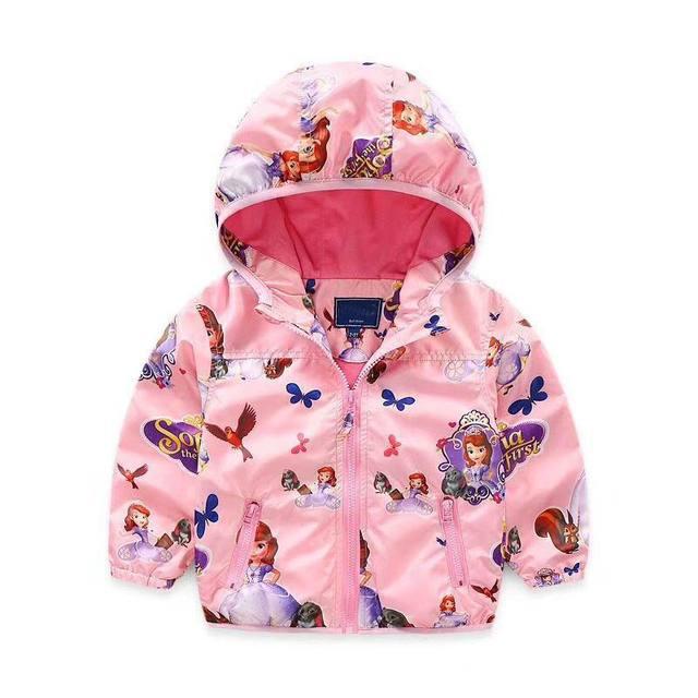 47da26a11 Spring Autumn Kids Jackets Girl Sofia Unicorn Windbreaker Princess Hooded  Coats Baby Girl Clothing Children Outerwear HY001
