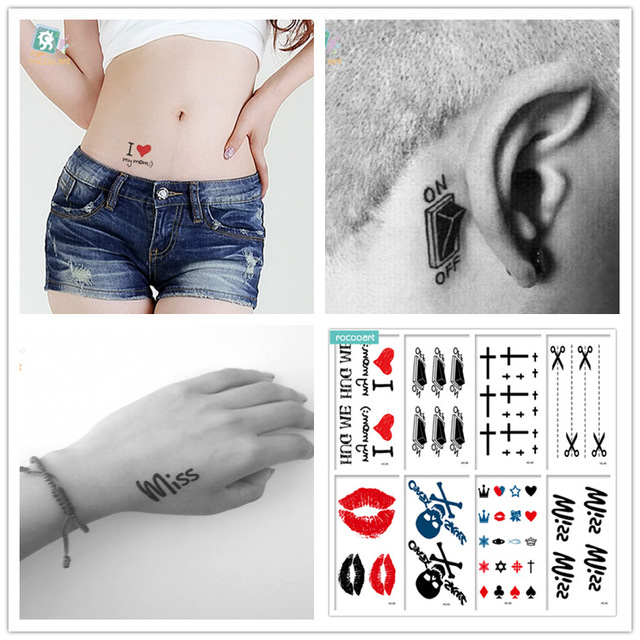 HC Mixed 8 Sheets Classic Tattoo Designs Black Tatoo Fake Body Temporary Tattoos skeleton Tattoos For Women and men