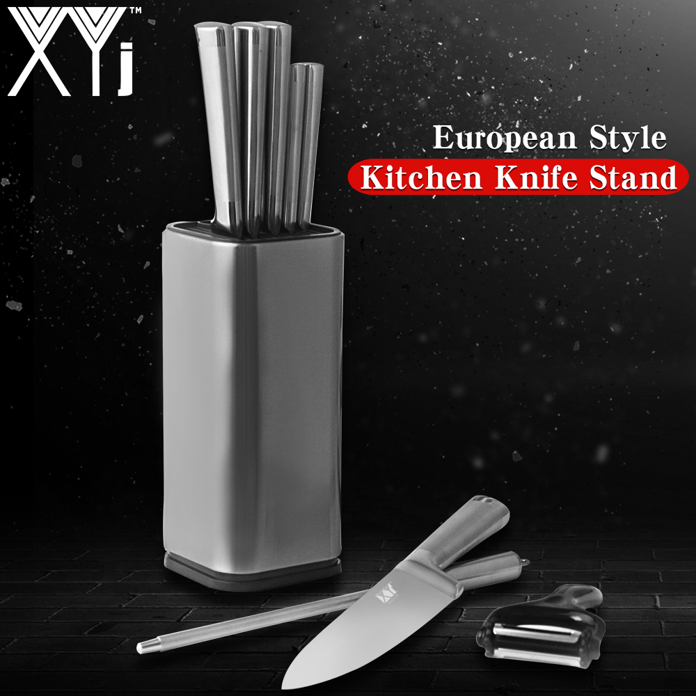 XYj Elegant European Style Kitchen Knife Stand Stainless Steel Kitchen Knife Set Holder Knives Stand Tactical Kitchen Tools Sale