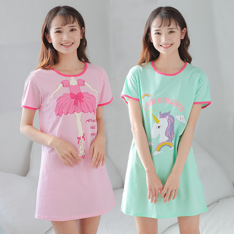 New Women's Sleepwear Cotton Night Dress Female Unicorn   Nightgowns   Short Sleeve Cartoon Girls Nightwear Causal Nighty   Sleepshirt