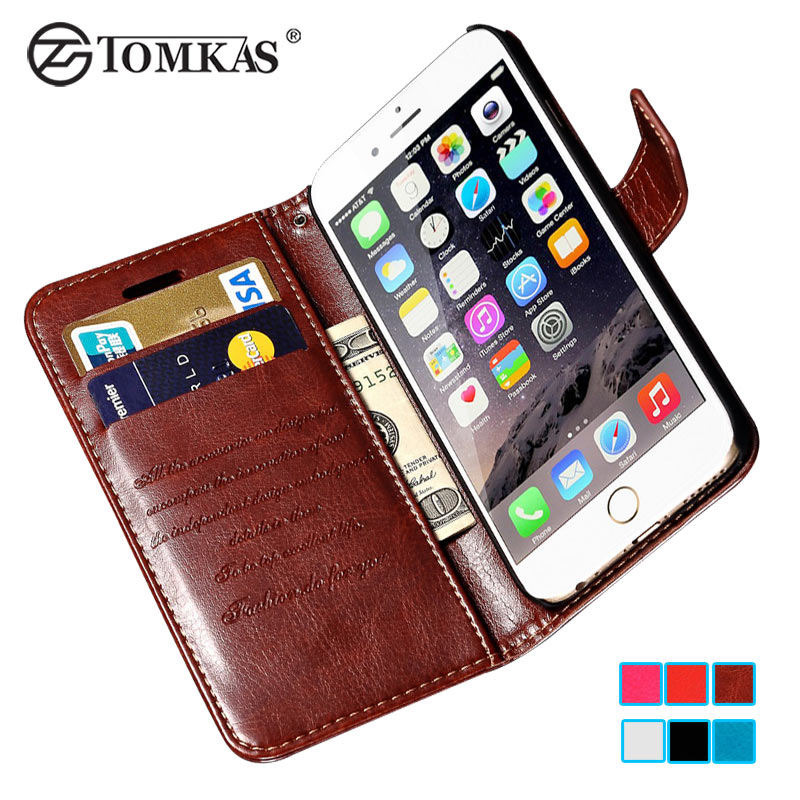 big sale a9603 dad0e Luxury PU Leather Case For iPhone 6 6S Wallet Cover Flip Coque With ...