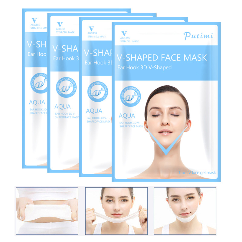 3PCS Lifting Face Mask Hanging Ear V Shape Face Slim Chin Check Lift Peel-off Mask V Shaper Face Slimming Bandage Mask Skin Care