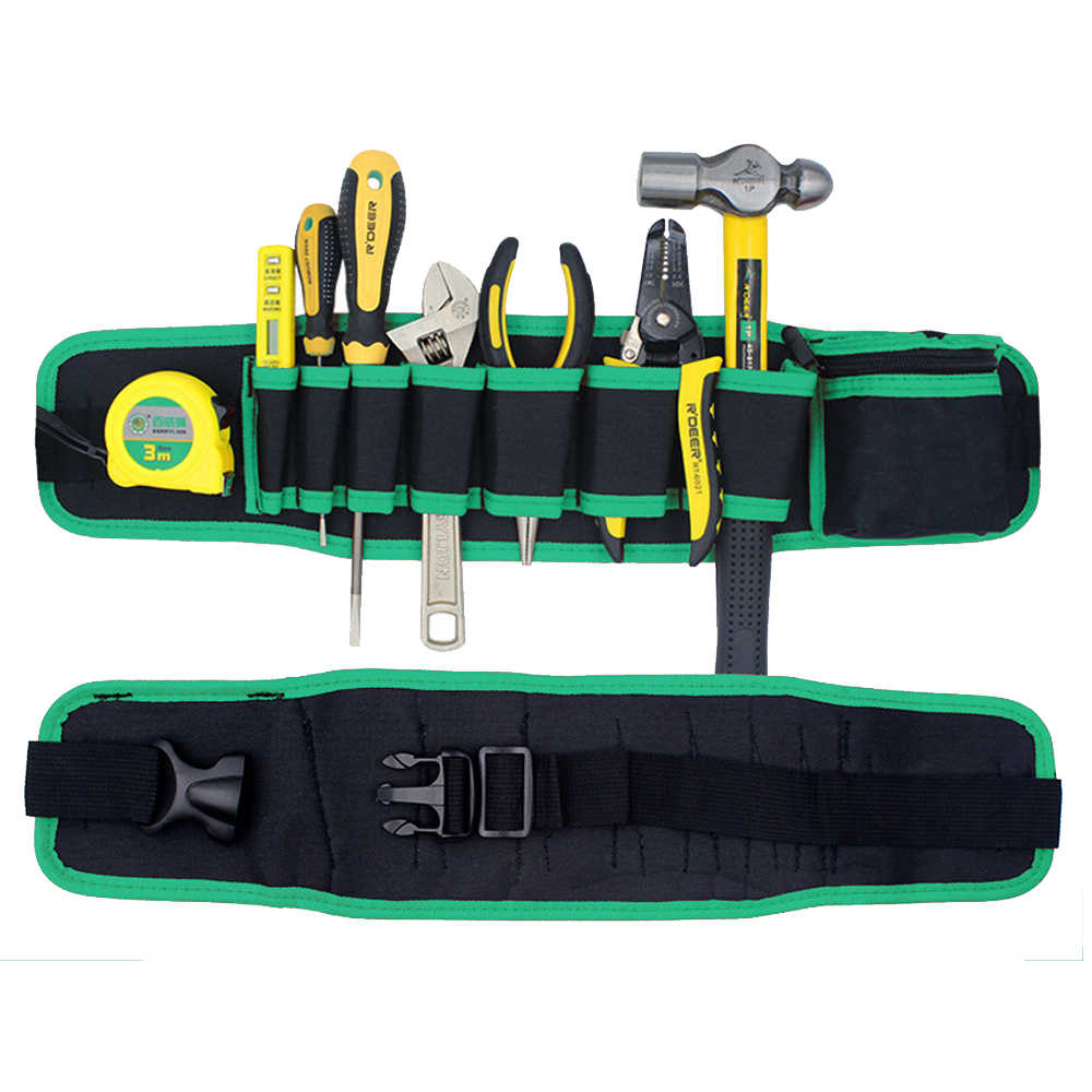 1pcs Durable Hardware Mechanics Canvas Tool Bag Electrician Woodworking Tool Bag Belt Utility Kit Pocket Pouch Organizer Bag
