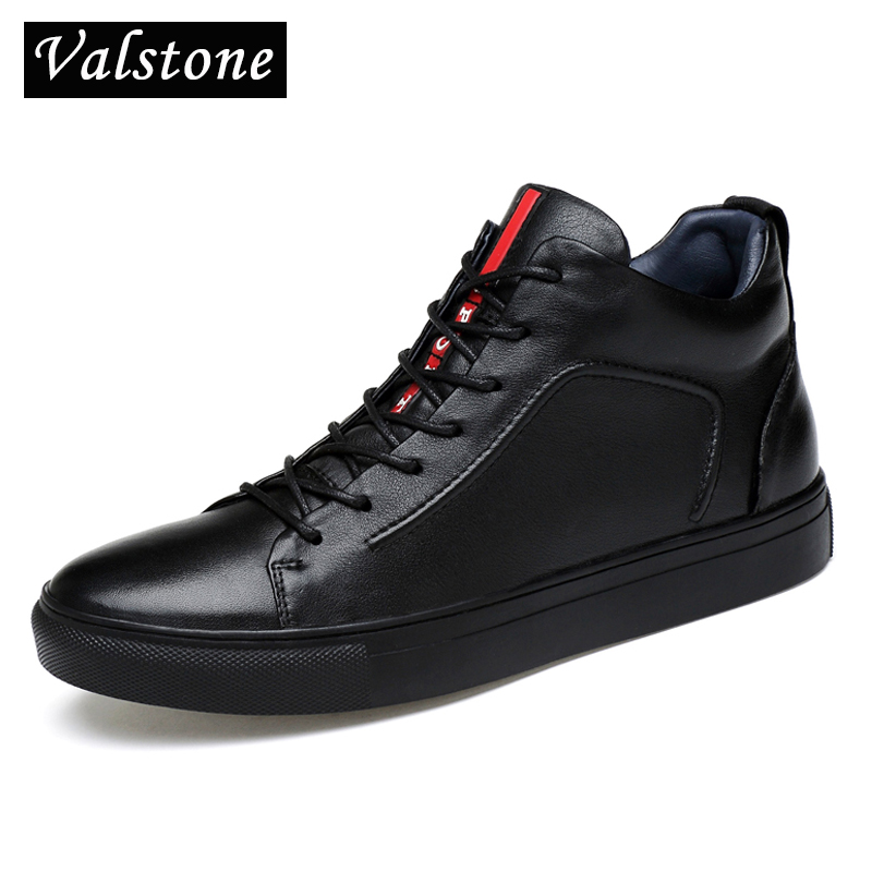 Valstone Luxury Brand Men Casual Genuine leather Shoes Quality autumn winter waterproof sneakers lace up Flats