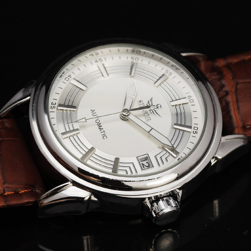 Top Brand SEWOR Automatic Mechanical Watch Men Auto Date Leather Wristwatches Men Business Watch Montre Homme Relogio Masculino fashion sewor watches mens self wind automatic mechanical watch auto date analog leather sport men wrist watch relogio masculino