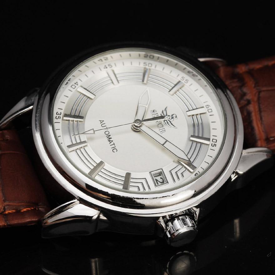 где купить Top Brand SEWOR Automatic Mechanical Watch Men Auto Date Leather Wristwatches Men Business Watch Montre Homme Relogio Masculino по лучшей цене