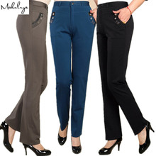 High Elastic High Waist Straight Formal Trousers