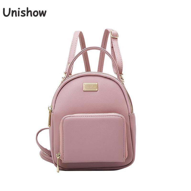 Unishow Women Mini Backpack Pu Leather Zipper Small Backpacks For Women Fashion Simple Casual Teenage Girl Backpacks Shcool Bag jxsltc womens pu leather rivet backpack female backpack for adolescent girl casual small backpacks women pouch fashion lady bag