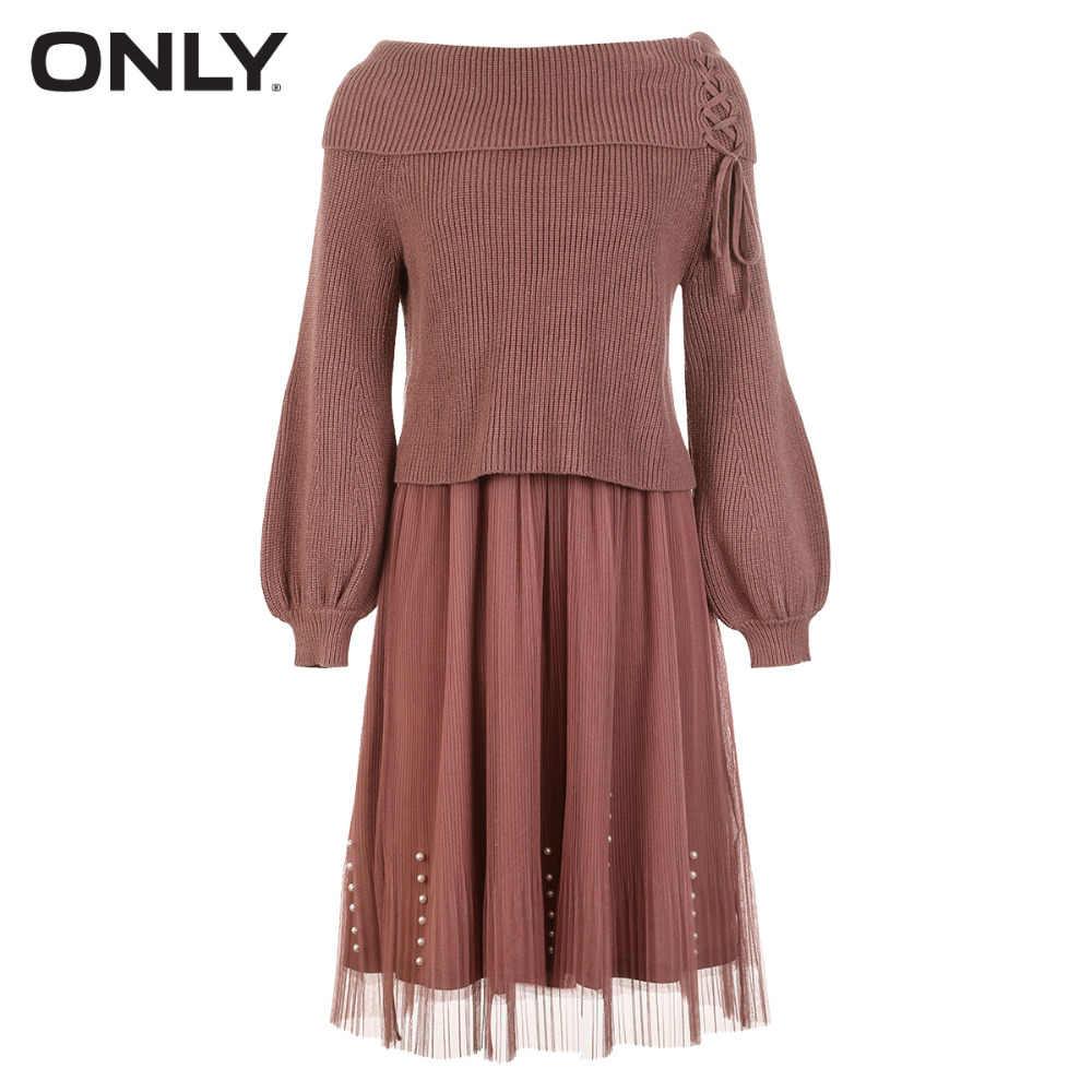 Только женское платье из двух предметов с круглым вырезом и жемчужинами; отделка бусинами на шнуровке | 118346528