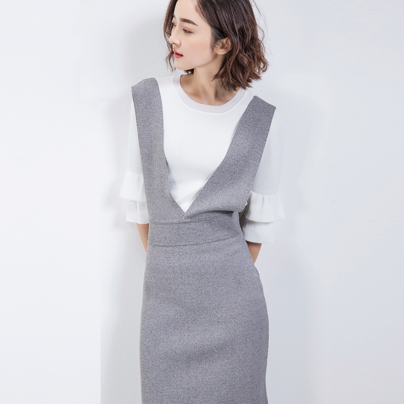 Knitted Sweater Dress Women Autumn Korean Fashion Texture Package Hip Spaghetti Strap Knitted Dresses Vestidos Women Clothing