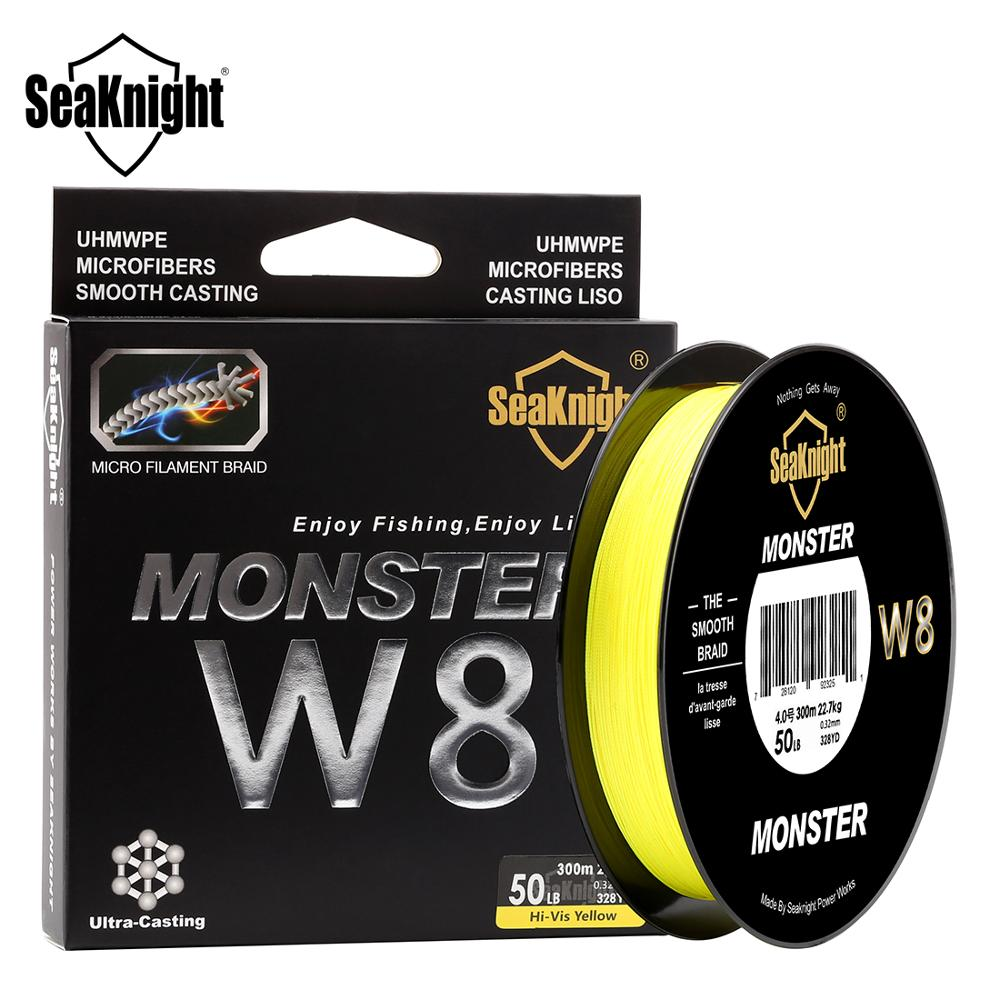 SeaKnight MONSTER W8 300M 8 Strands Braided Fishing Lines 20 To 100LB 0.16mm-0.50mm Strong PE Multifilament Braid Fishing Line