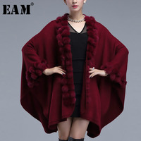 [EAM] 2018 Autumn Winter Woman Solid Color Long Batwing Sleeve Imitate Rabbit Fur Cardigan Cloak Irregualr Loose Coat LD906
