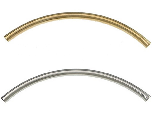 10 Gold Plated Brass 50x3mm Curved Tube Noodle Beads