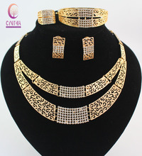 African Costume Jewelry Sets Gold Plated Fashion Crystal Rhinestone Wedding Bridal Necklace Bangle Earrings Ring Set