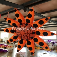 Best selling 3m giant hanging inflatable sunflower with led lights for party stage decoration