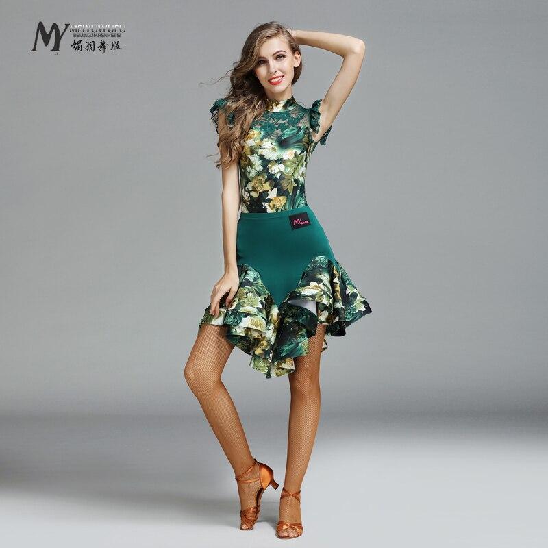 New Sale Woman Fashion Latin Dance Costume Ballroom Tango Rumba Chacha Suits dance competition wear Top+skirt Set 771 + 772