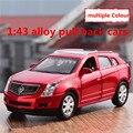 1:43 liga pull back carros, alta de simulação modelo Cadillac SRX, 2 porta aberta, metal diecasts brinquedo, veículos, frete grátis