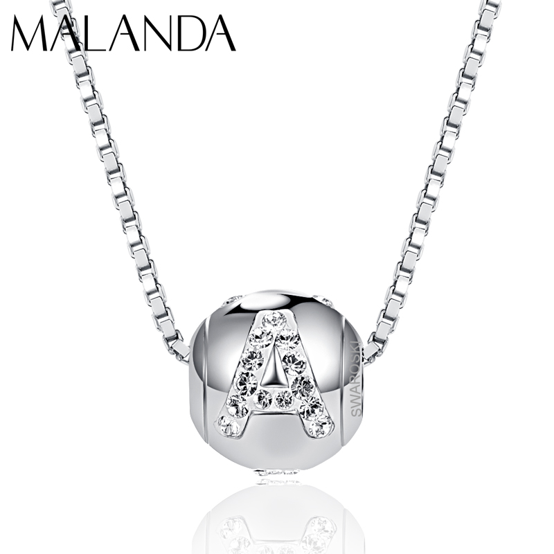 Malanda New Fashion Letter Beads Necklaces For Women Crystal From SWAROVSKI Logo Necklaces Body Wedding Party Jewelry Girl Gift