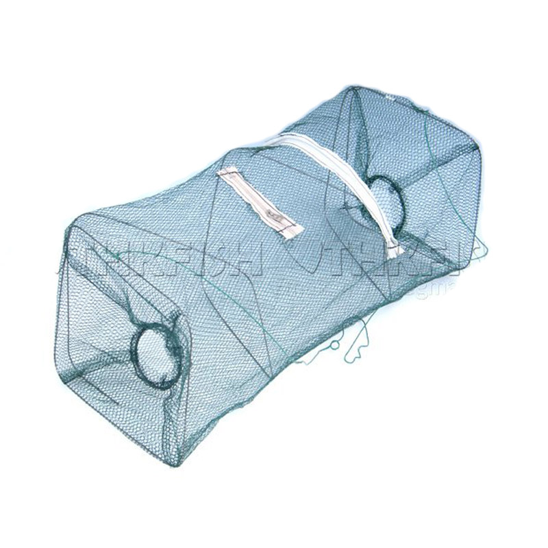 Folded Collapsible Fishing Net Minnow Crab Trap Lobster Shrimp Cast Mesh Trap