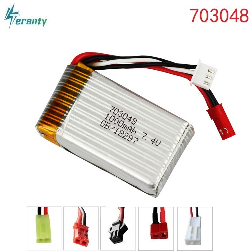 2Pcs 7.4V <font><b>1000mah</b></font> 703048 <font><b>Lipo</b></font> Battery For MJXRC X600 <font><b>2s</b></font> <font><b>Lipo</b></font> Battery 7.4 V 1000 mah 25c 703048 toy battery image