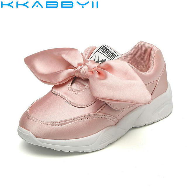 KKABBYII Fashion Bow Girls Shoes Flat Running Sports Kids Shoes Casual Brand High-quality Children Sneakers Size 26-30