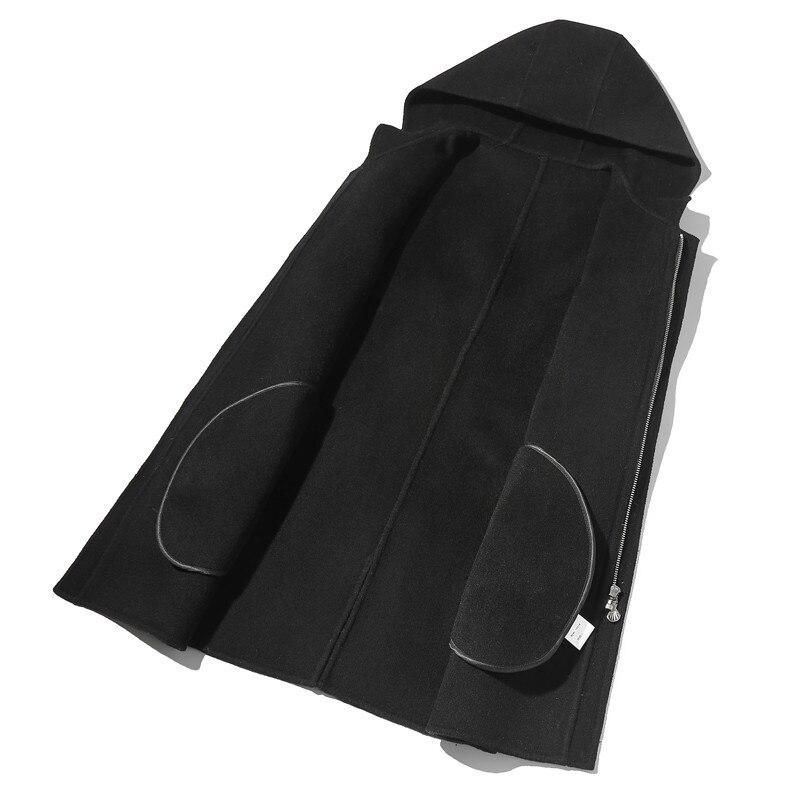 À Printemps Kj1465 Capuche 100 Laine Double Automne face Manteaux Masculino Vestes Mens Et Hommes vent Manteau Ayunsue Longue Black Coupe Casaco WF8IqHH