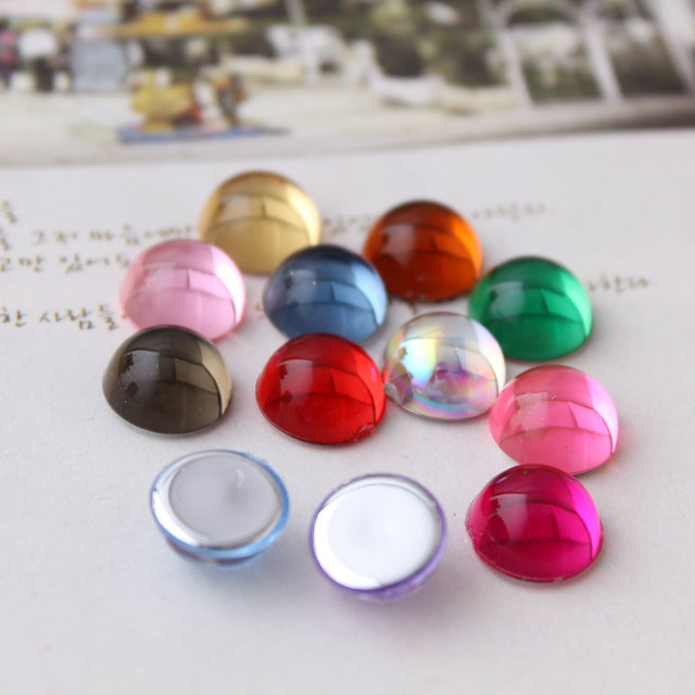5000pcs/Bag 6mm Jelly Flat Back Half Round Acrylic rhinestones,Acrylic Plastic 3D Nail Art / Garment Rhinestone