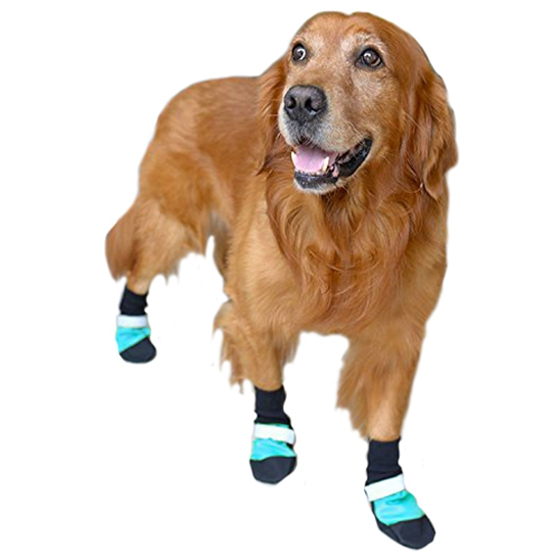4 pcs/set Dog Waterproof Non-slip Shoes Comfortable Boots Fashion Durable Reflective Stripe Dogs Paws Protector Shoes