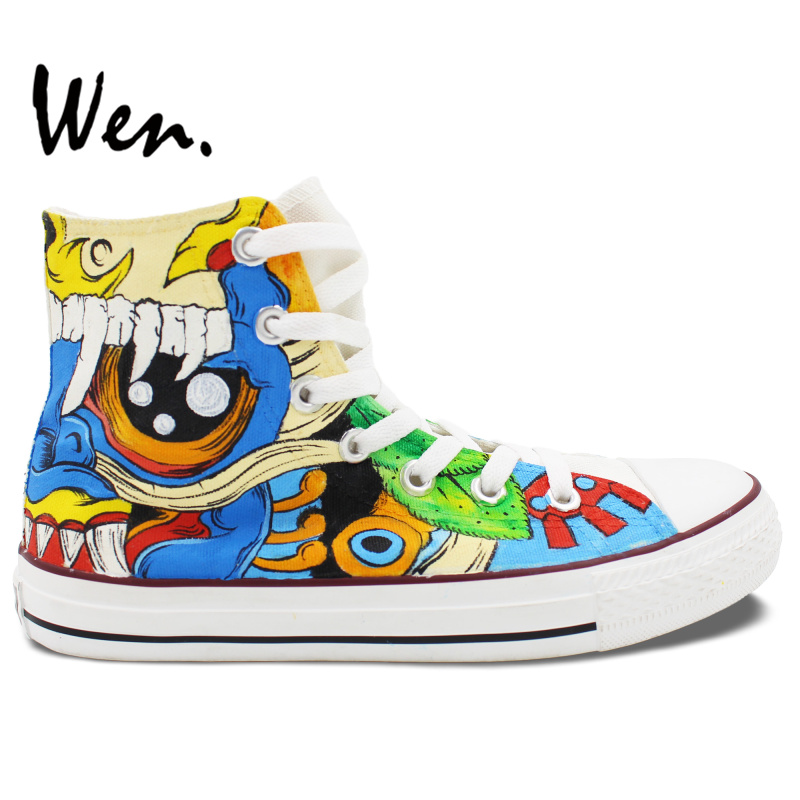Wen Original Design Custom Hand Painted Shoes Color Monster Totem Men Womens High Top Canvas Sneakers Gifts for Boys GirlsWen Original Design Custom Hand Painted Shoes Color Monster Totem Men Womens High Top Canvas Sneakers Gifts for Boys Girls