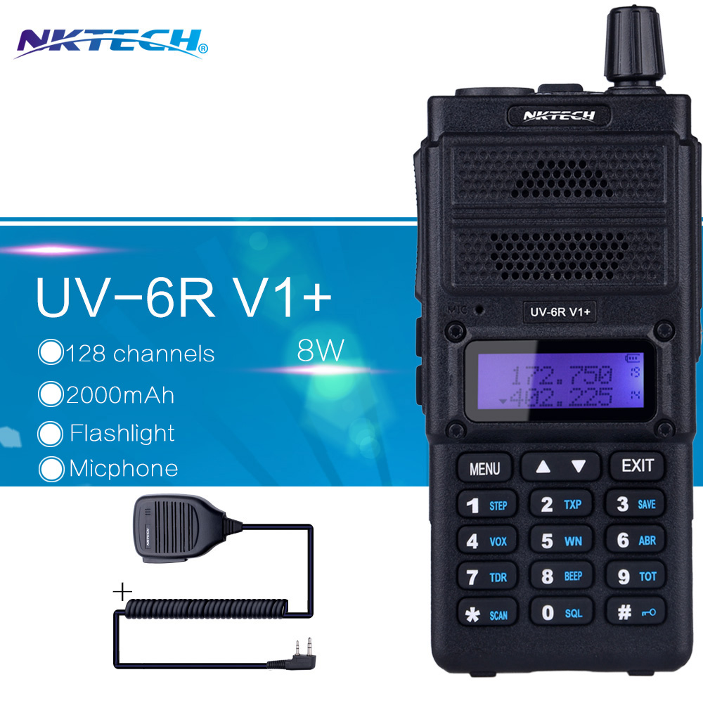 bilder für NKTECH Walkie-talkie UV-6R V1 + VS Baofeng UV-6R Dual Display Radio VHF136 ~ 174 MHz/UHF400 ~ 520MHz128CH + 1 Lautsprecher Mic