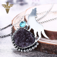 New Design!!Sterling Silver 925 With Drusy Quartz And Turquoise Gemstone Wolf Man And Boy Cool Pendant Gift 19x24mm 6x6mm 17.6g