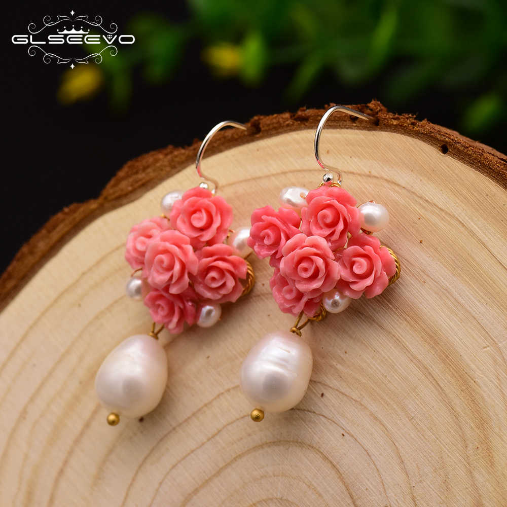 GLSEEVO Handmade Natural Coral Red Flower  Women's Dangle Earrings Natural Pearl Dangle Earrings Luxury Fine Jewelry GE0608