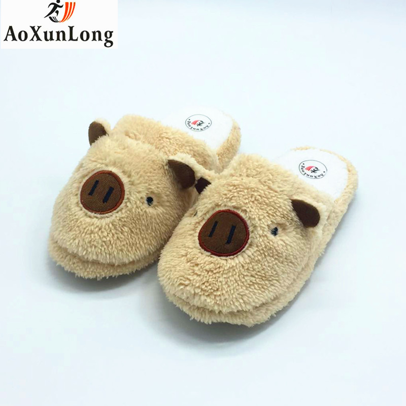 Winter Slippers Women Warm Plush Indoor Home Slippers Cartoon Pig Flat Shoes Woman Beige Spring Woman Shoes EU 37-40 pantufa 9 8 vanled 2017 new fashion spring summer autumn 5 colors home plush slippers women indoor floor flat shoes free shipping